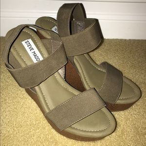 Steve Madden Army Green Strappy Wedges